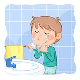 Cute little boy with light brown hair - washing face - daily routine. Jpeg image - 300 dpi - RGB royalty free illustration