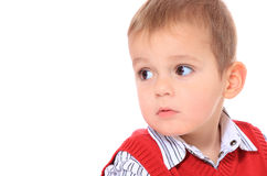 Cute little boy looking to the side Royalty Free Stock Images