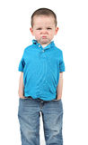 Cute little boy making funny faces stock images