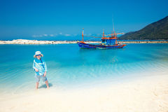 Cute little boy on Malibu beach at Koh Phangan Island, Thailand Stock Images