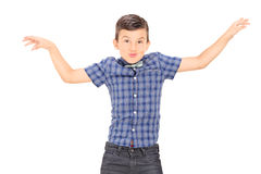 Cute little boy mimicking with his hands Stock Image
