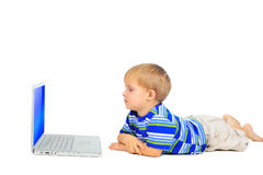 Cute little boy with notebook Stock Image