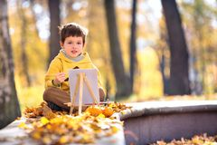 Cute little boy painting in golden autumn park Stock Images