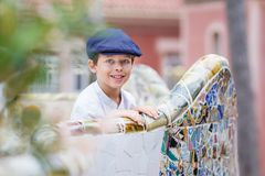 Cute little boy at Parc Guell, Barcelona Royalty Free Stock Photos