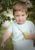 Cute little boy with pear looking at camera Stock Photo