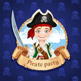Cute little boy pirate with cutlass. Banner for party Royalty Free Stock Photo