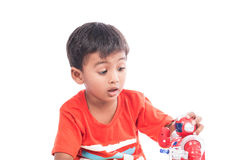 Cute little boy play robot Royalty Free Stock Image