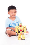 Cute little boy play robot fighting Royalty Free Stock Photos