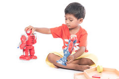 Cute little boy play robot fighting Royalty Free Stock Photography