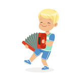 Cute little boy playing accordion, young musician with toy musical instrument, musical education for kids cartoon vector Stock Photo