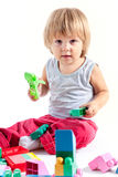 Cute little boy playing with blocks Royalty Free Stock Images