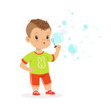 Cute little boy playing with bubble blower vector Illustration. Isolated on a white background royalty free illustration