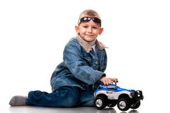 Cute little boy playing with car Royalty Free Stock Photography