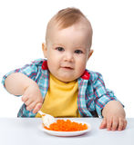 Cute little boy is playing with carrot salad Stock Photography