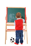Cute little boy playing with chalkboard Stock Images