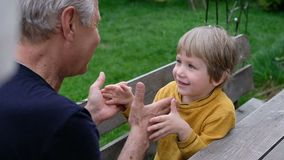 Cute little boy playing with his grandfather, summer outdoors stock video footage