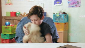 Cute little boy playing with his little dog showing his love stock video