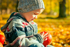 Cute little boy playing with pumpkin. In the park Royalty Free Stock Images