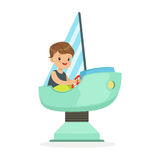 Cute little boy playing on a toy ship, kid have a fun in amusement park cartoon vector Illustration Stock Images