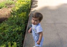 A cute little boy plays placidly in a garden. A cute little boy plays placidly in a big garden royalty free stock photos
