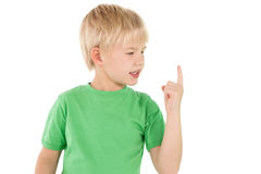 Cute little boy pointing up Stock Photo