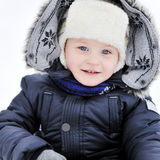 Cute little boy portrait in winter Royalty Free Stock Images