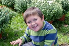 Cute little boy poses for a photo in a garden stock images