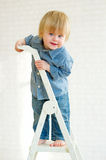 Cute little boy posing from the top of the ladder Royalty Free Stock Photos