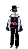 Cute little boy posing in Zorro costume. Isolated on white Royalty Free Stock Photo