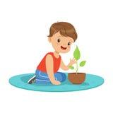Cute little boy at a practical biology lesson, preschool educational activities cartoon vector Illustration Stock Photos