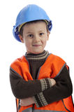 Cute little boy with protection helmet Royalty Free Stock Photos
