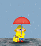 Cute Little Boy in the Rain Stock Photography