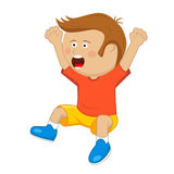 Cute little boy with raised up cheering and jumping Royalty Free Stock Images