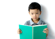 Cute little boy reading a book Stock Photography