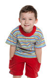 Cute little boy in red Stock Photos