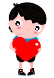 Cute little Boy with Red Heart. Boy holding Heart for Valentines Day. Vector Illustration Royalty Free Stock Photos