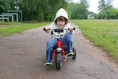 Cute little boy rides on bike Stock Photo
