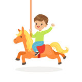 Cute little boy riding on the carousel horse, kid have a fun in amusement park cartoon vector Illustration Stock Image