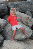 Cute little boy on the rocks Stock Photography