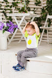 Cute little boy in room royalty free stock photos