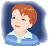 Cute little boy's portrait. Vector illustration. Kid, child, adorable little boy with brown hair and blue eyes stock illustration