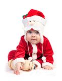 Cute little boy in Santa costume over white Royalty Free Stock Image