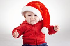 Cute little boy with santa hat Royalty Free Stock Photos
