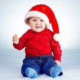 Cute little boy with santa hat Stock Photo