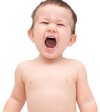 Cute little boy shouting. Isolated on white Stock Photo