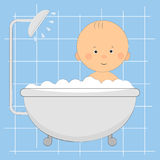 Cute little boy  in the shower. Royalty Free Stock Photos