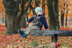 Cute little boy sitting on a bench Royalty Free Stock Photos