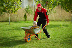 Cute little boy sitting in wheelbarrow Royalty Free Stock Photos