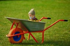 Cute little boy sitting in wheelbarrow Stock Photography