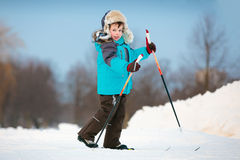 Cute little boy skiing on cross Royalty Free Stock Photography